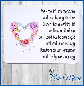 Image Is Loading 10 Personalised Wedding Money Poem Honeymoon Wish Poems