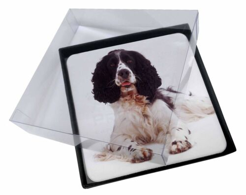 4x Black and White Springer Spaniel Picture Table Coasters Set in Gift , ADSS7C