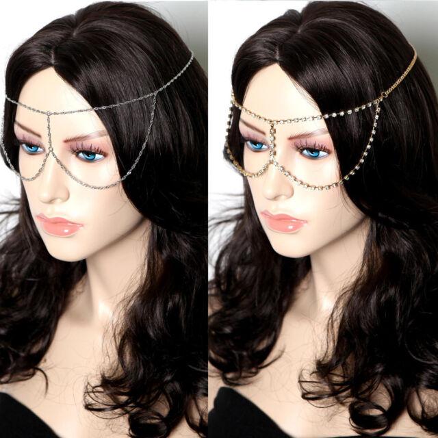 Women Head Band Hair Metal Chain Piece Gold Silver Jewelry Rhinestone Eye Mask