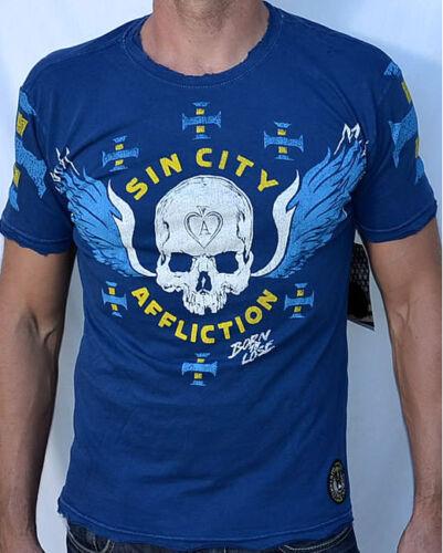 Navy NEW Affliction American Customs SIN CITY SINNERS Men/'s T-Shirt A4262