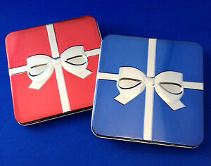 Details About 24 New Bulk Gift Card Presentation Boxes Metal Tin Box For Gift Cards Red Blue