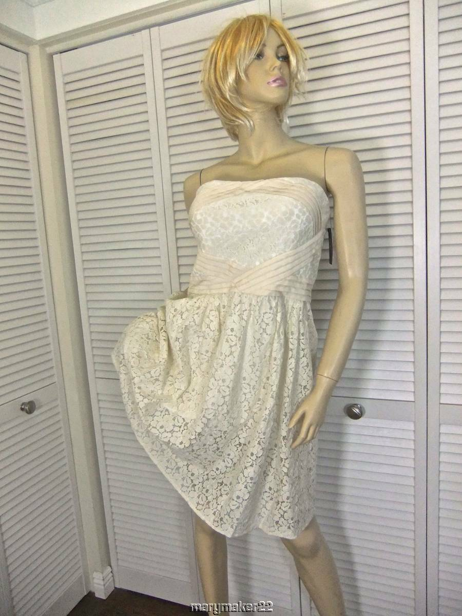 NWT- VINCE CAMUTO DRESS 12 IVORY STRAPLESS LACE GOWN