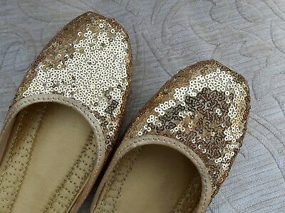 Oro señoras Indio Boda Fiesta de vuelta menos Zapatilla De Cuero Zapatos Talla 6