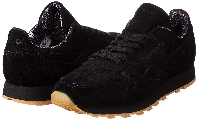 Reebok Men's Classic Leather TDC Suede Fashion Sneakers (Black Black)