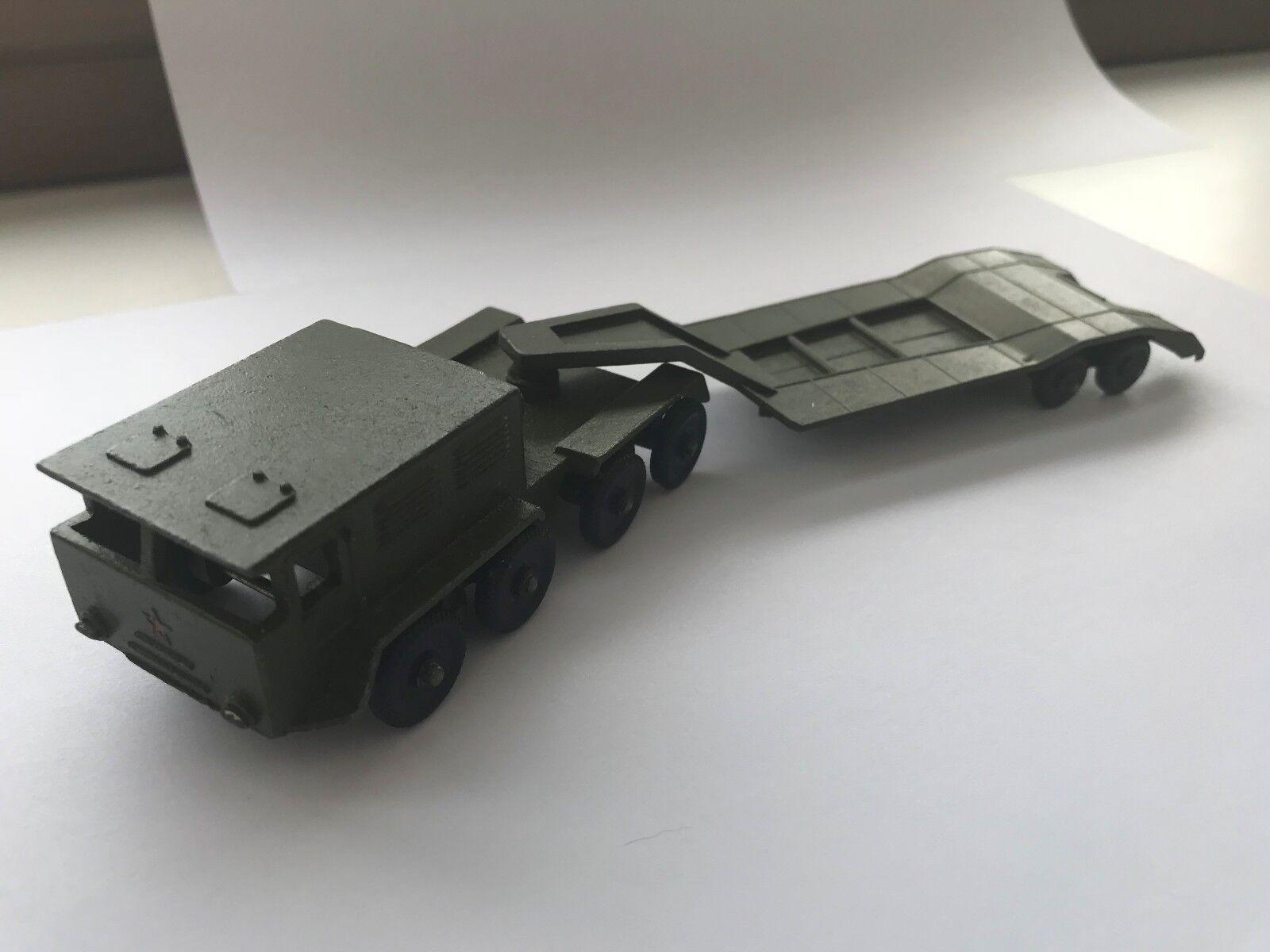 Vintage Soviet Army Wheeled tractor w platform Military WW2  Metal Tank Toy