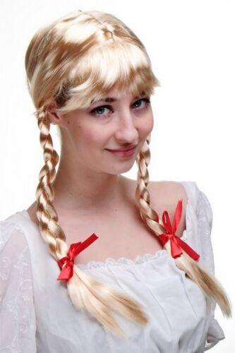 Perücke mit 2 seitlichen Zöpfen blond Frau Antje aus Holland Alm-Mädchen Wig NEU