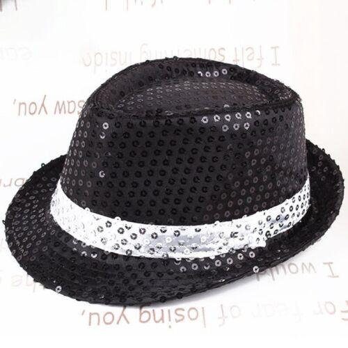Flashing Fedora Trilby Sequin Unisex Fancy Dress Dance Party Hat Theatre Vogue