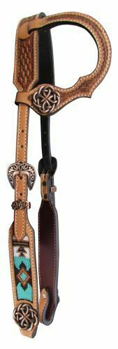 silverina Cow Leather One Ear  Headstall w  Teal & Brown Beaded Inlay  FREE SHIP   just for you