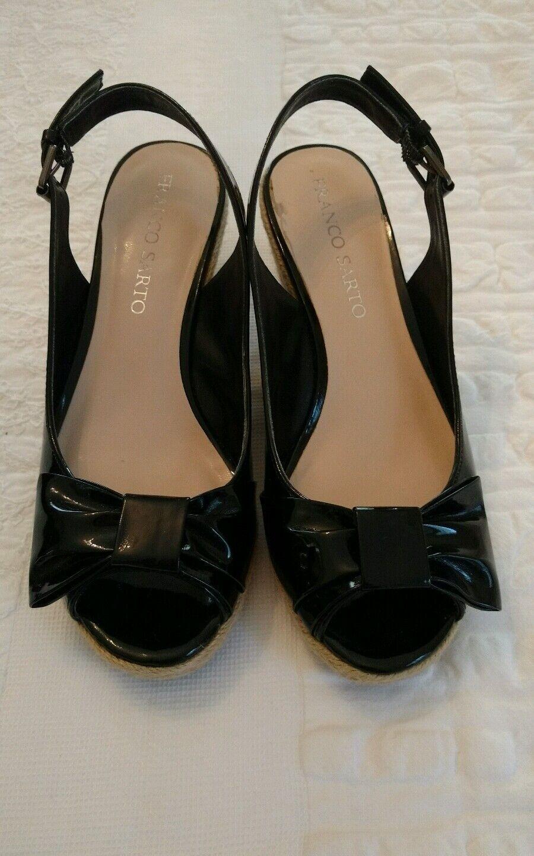 Women black Size patent espadrille wedge sandles Size black 6.5 457da8