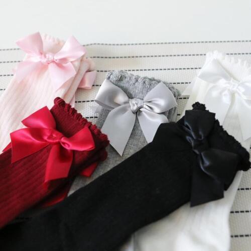 Kids Baby Girl Big Bow Knee High Long Soft Warm Tights Socks Stockings Pantyhose