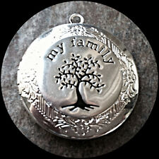 """MY FAMILY TREE of LIFE silver photo LOCKET on 18"""" sterling chain necklace"""