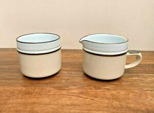 Denby-Pottery-Creamer-amp-Sugar-Bowl-039-Madrigal-039-Pattern-Vintage-Retro-1970s
