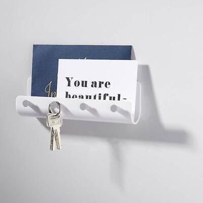 4 Hooks Key Holder Wall Mount Mail Letter Organizer Storage Rack Hanger Home
