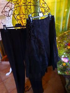 Humble Lot Noir ,superbe Jupe Ample ,volants Surbrodée +pantalon Noir T38 Droit , Les Catalogues Seront EnvoyéS Sur Demande
