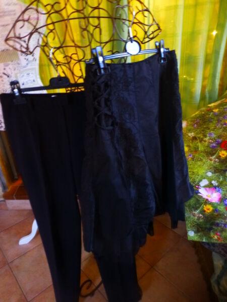 Colto Lot Noir ,superbe Jupe Ample ,volants Surbrodée +pantalon Noir T38 Droit , Fornitura Sufficiente