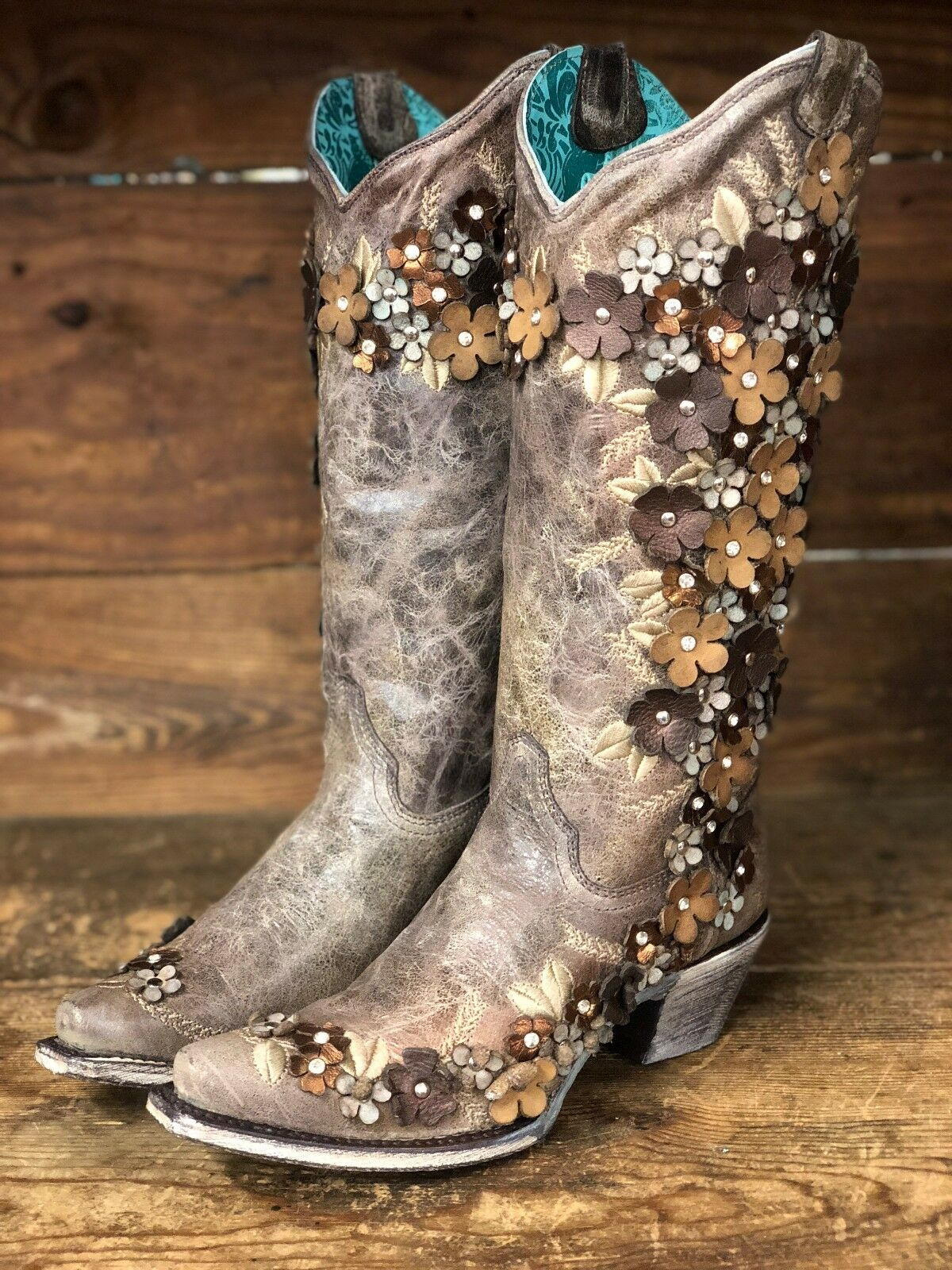 Corral Wouomo Tobacco Floral Overlay Snip Toe Western stivali A3602