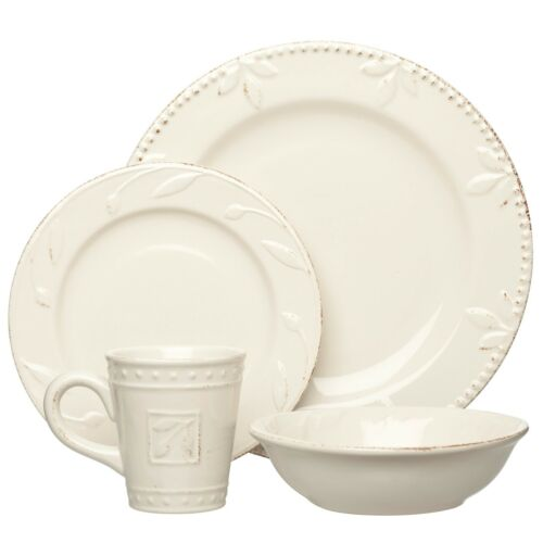 Set of 2 Sorrento Ivory 4 Piece Place Setting by Signature Housewares