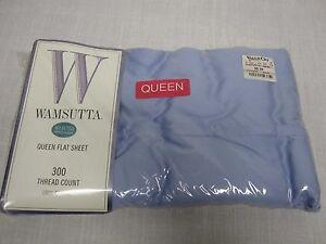 VTG WAMSUTTA MD USA SOLID BLUE QUEEN FLAT SHEET 300 THREAD COUNT COTTON NEW MIP!