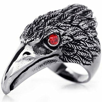 Stainless Steel Band Hawk Eagle Ring Red CZ Eyes Mens Punk Biker Black Silver