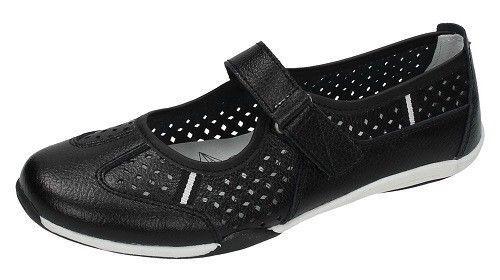 Down To Earth Femmes Noir Cuir Chaussures F8R0066