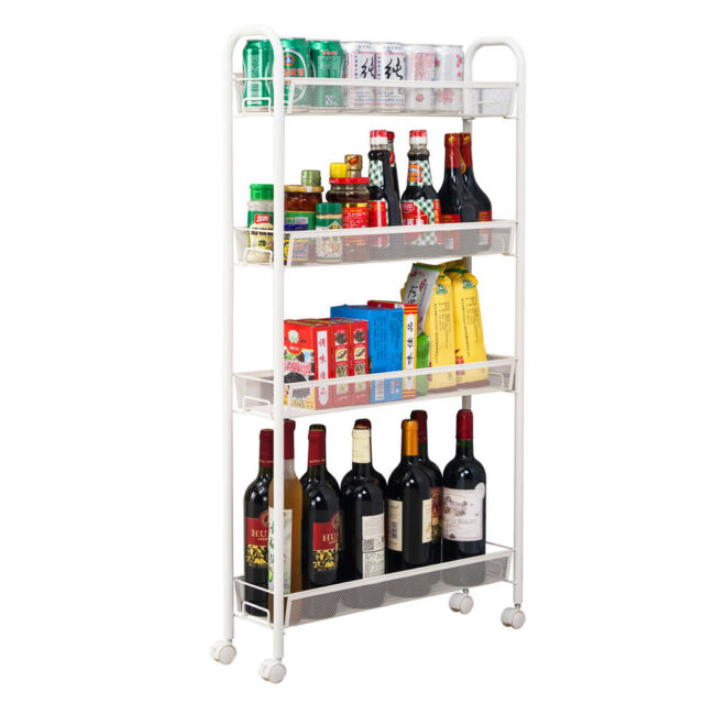 White Slim Rolling Organizer Cart Laundry Storage Spice Rack 4 Shelves  Kitchen