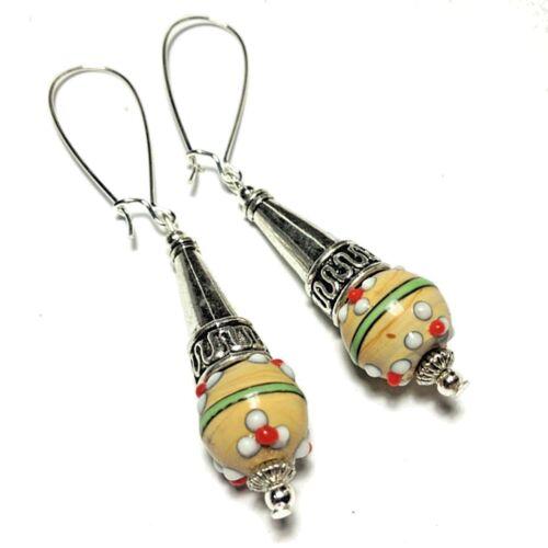 Mustard Yellow Earrings Glass Bead Drop Dangle Silver Plated Long Kidney Wires