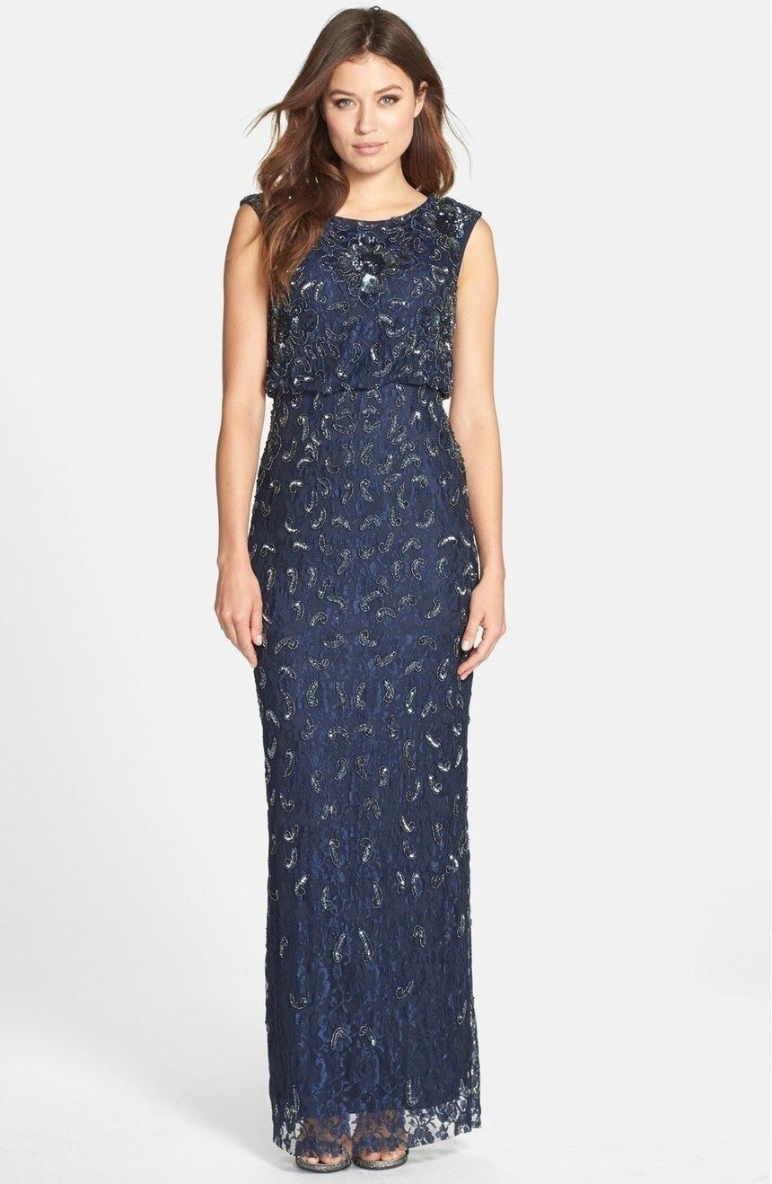 Adrianna Papell Beaded Lace Blouson Column Gown Navy 8