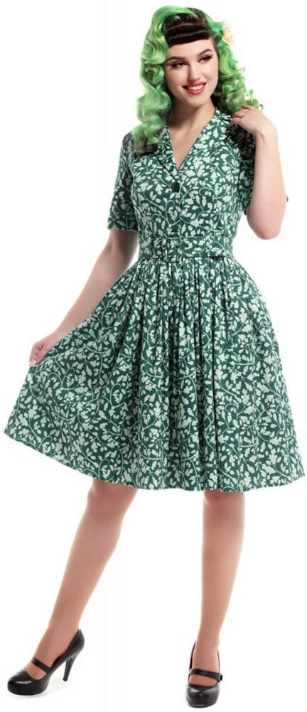 Collectif JANET Vintage LEAFY Eichenblatt V-Neck SWING DRESS Kleid Rockabilly
