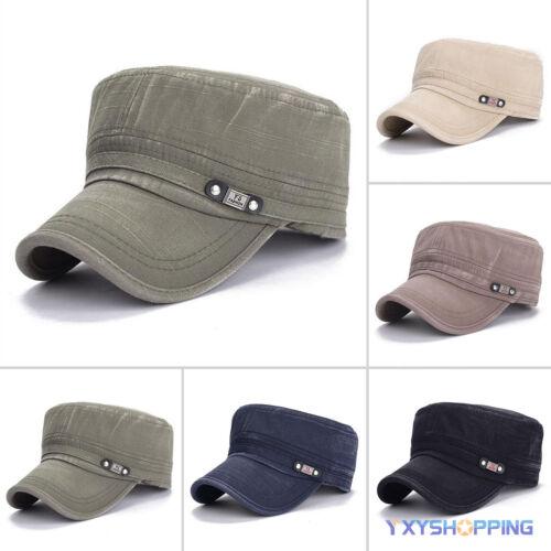 Mens Ladies Classic Army Cap Military Cadet Trucker Peaked Urban Hat Adjustable