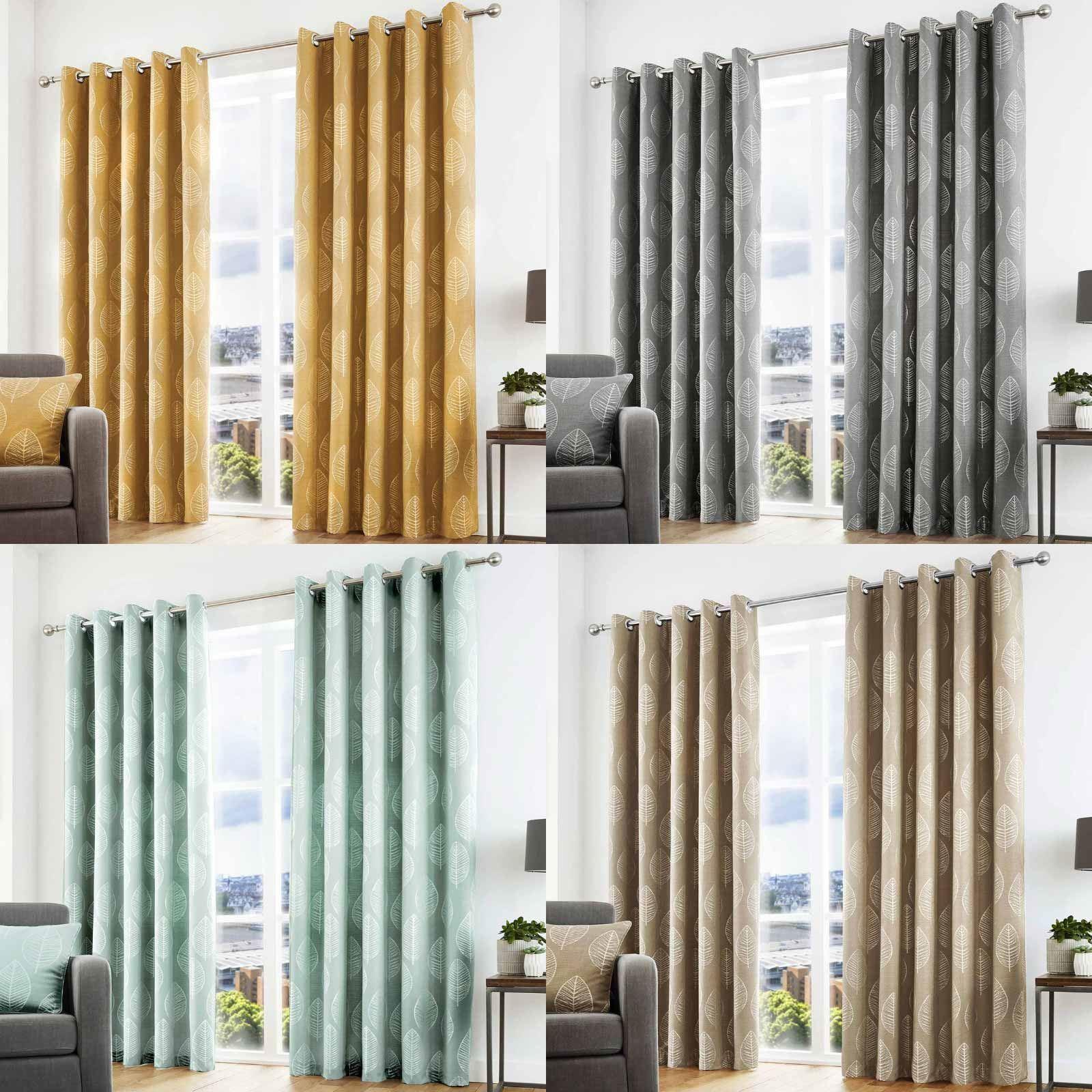 Helsinki Eyelet Curtains Jacquard Skandi Leaf Ready Made Ring Top Curtain Pairs