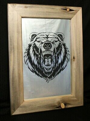 Bear Face Etched Mirror Framed In Blue Pine Montana S Lost Art Home Decor Ebay
