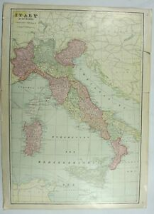 Map of italy vintage original 19c george f crams world atlas map image is loading map of italy vintage original 19c george f gumiabroncs Gallery