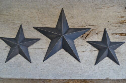 "Set of 3 ~ 8/"" 5.5/""  BLACK BARN STARS Metal Tin  Primitive Country 5 1//2/"""