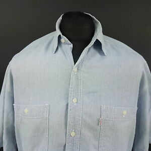 Levi-039-s-Mens-Vintage-Casual-Shirt-MEDIUM-Short-Sleeve-Blue-Regular-Fit-Check