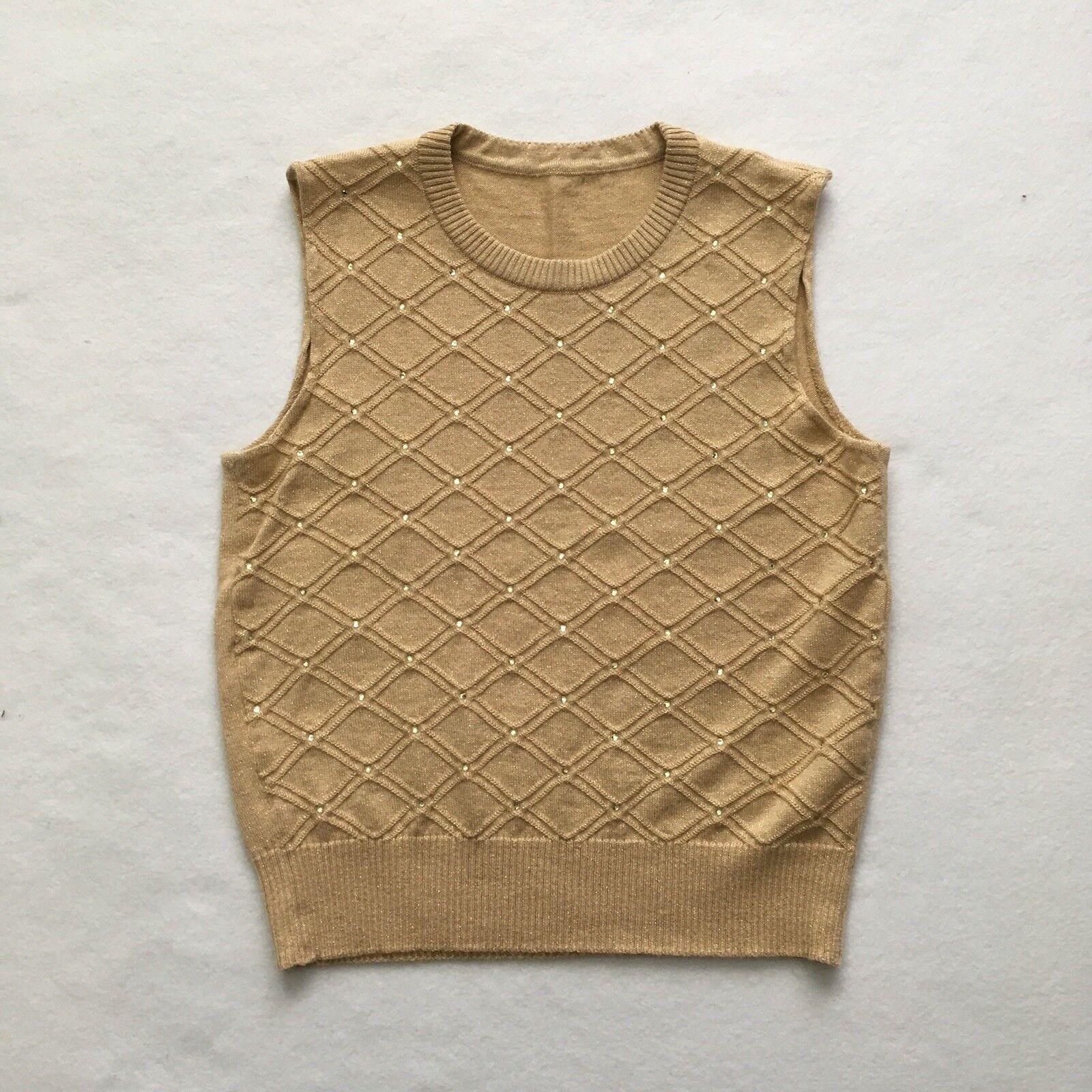 Escada gold Metallic Lattice Embellished Embellished Embellished Wool Blend Sweater Cardigan Set 36 6 ea0852
