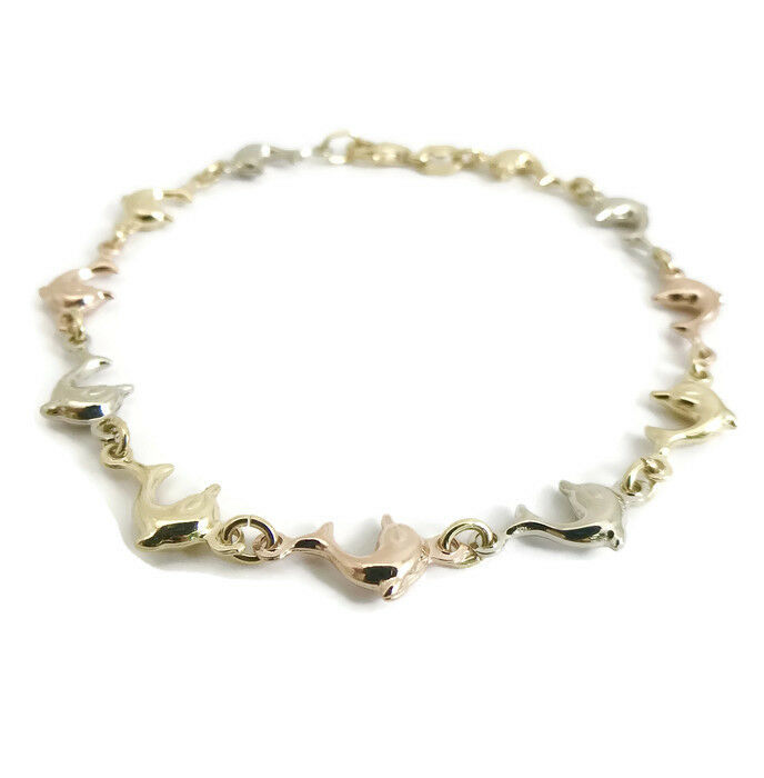 Dolphin Chain Link Bracelet, 18K Yellow White pink gold, 7.5 Inches, 6.22 Grams