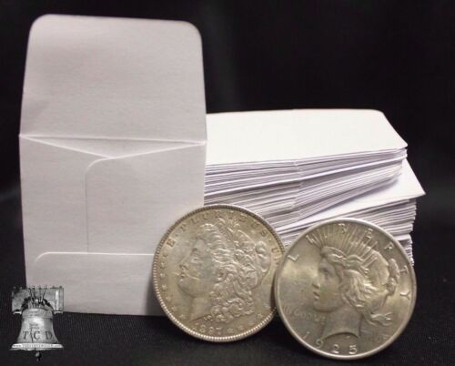 100 2x2 White Paper Coin Stamp Envelope GUARDHOUSE Archival Acid /& Sulpher Free
