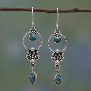 Vintage-Boho-Turquoise-Gemstone-925-Silver-Drop-Dangle-Hooks-Earrings-Fashion