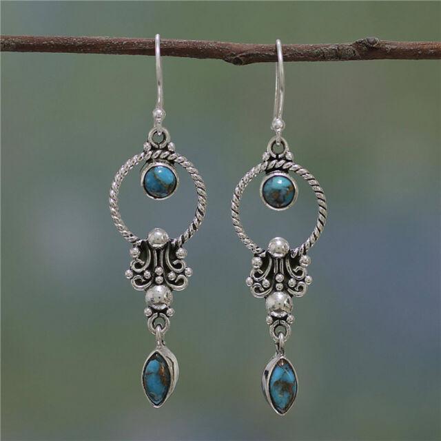 Nice Boho Tibetan 925 Silver Turquoise Dangle Hook Earrings Women Jewelry Gift