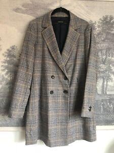 6ebf4567 Zara Brown Gray Prince of Wales Wool Blend Long Blazer Coat Size M ...