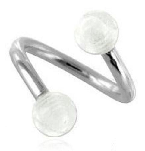 Un piercing spirale lévre arcade nombril 2 Tailles de tiges aux choix bille 6 mm