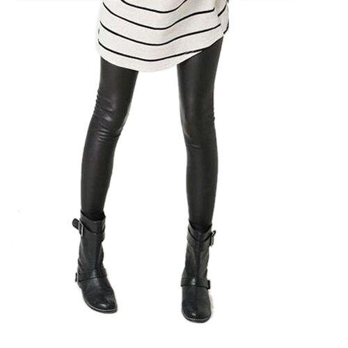 Kunst-Leder Leggings Gothic Hose Black Stretchy Tights Pants XS S M LC9