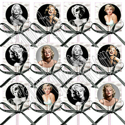 Marilyn Monroe Lollipops w/ Black Ribbon Bows Party Favors Blonde Bombshell (12)