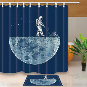 Image Is Loading Explore The Planet Shower Curtain Set Astronaut Bathroom