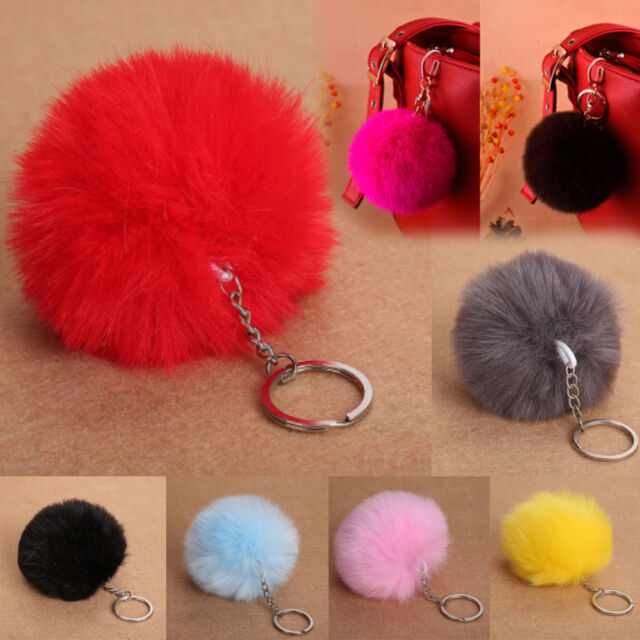 Rabbit Fur Fluffy Pompom Ball Handbag Car Pendant Charm Key Chain Keyrings ✿Q