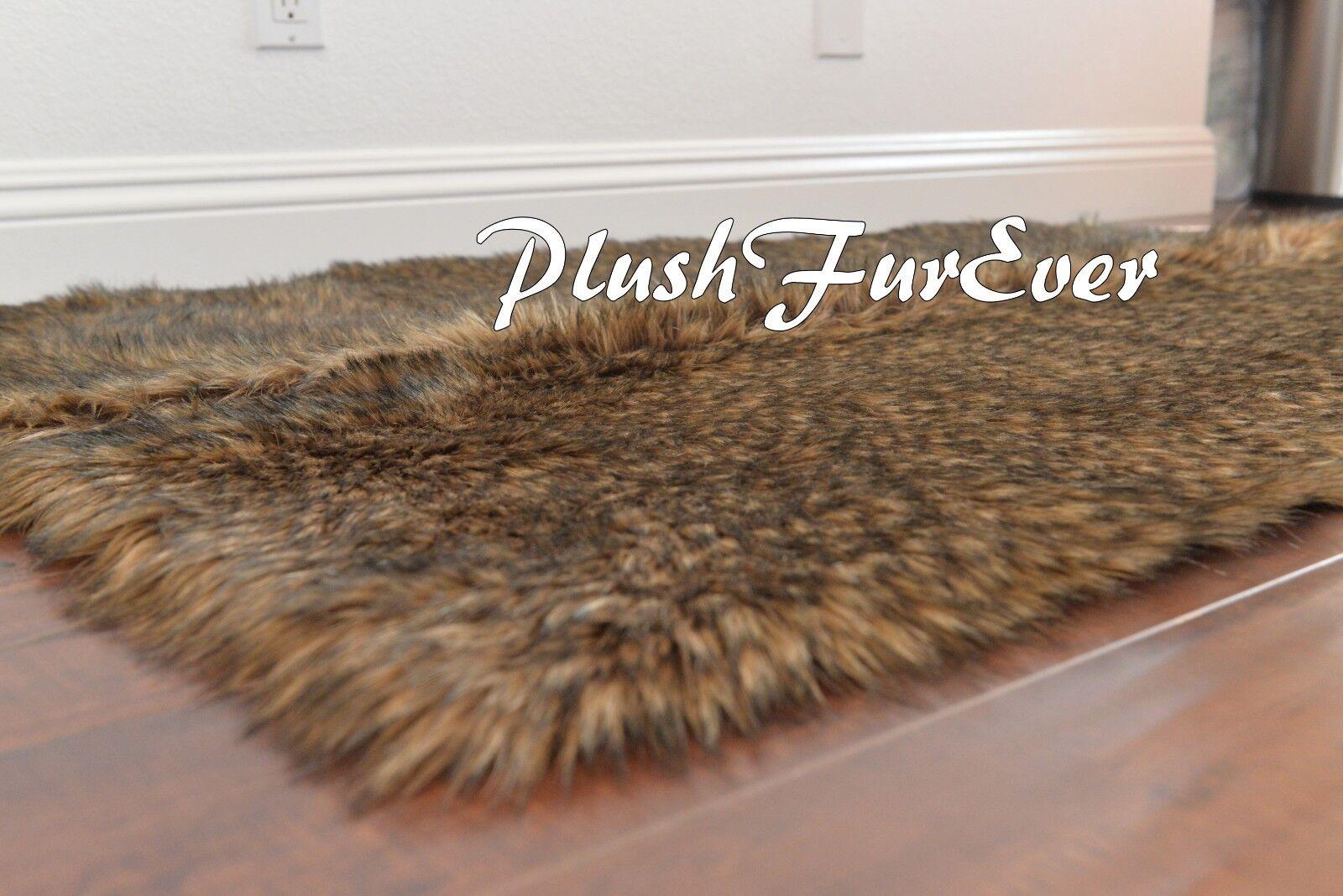 PlushFurEver Faux Fur Rug  Coyote Skin Animal Pelt Rectangle Accents Rugs 4' x 5