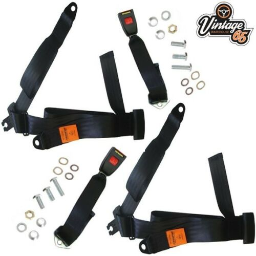 Vintage Warehouse 65 Front 3 Point Non-Inertia Rear Seat Belt Kit Pair