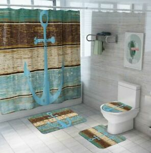 5pc Anchor Waterproof Polyester Shower Curtain Rug Toilet Seat Cover Set Ebay
