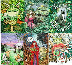 Wicca Christmas.Details About Value Pack Of Six 6 Christmas Cards Yule Pagan Solstice Wicca Blank Drawn Uk