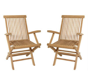 Bekannt KMH® 2er Set Teak Gartenstuhl mit Armlehnen Klappstuhl Holz Stuhl PE17